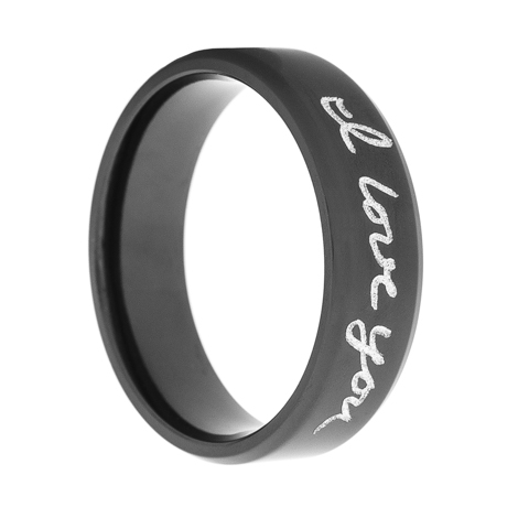 Black Zirconium Handwriting Ring