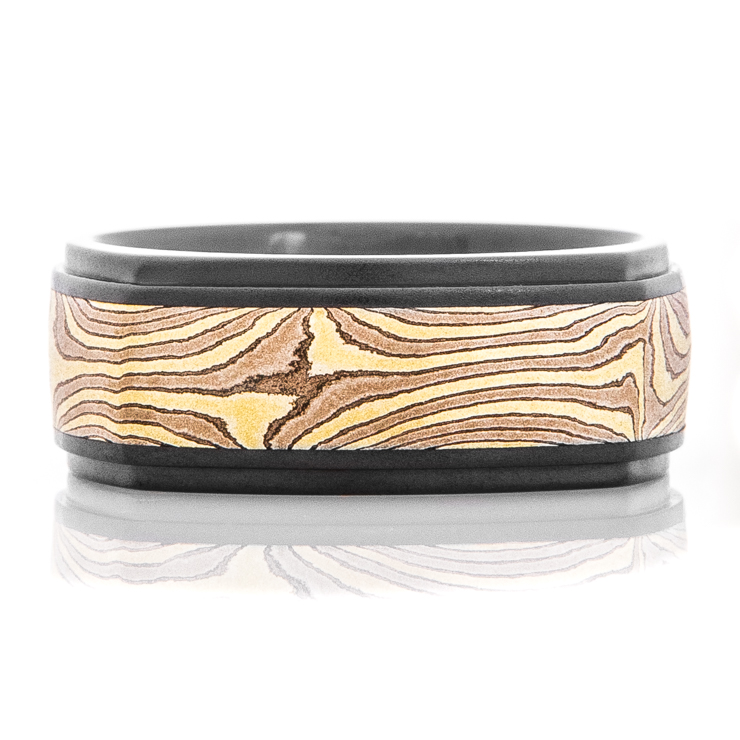 Men's Black and Gold Mokume Gane Acid Ring