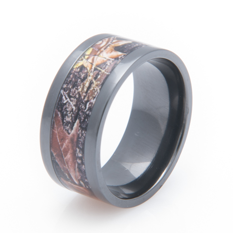 Men's Black Zirconium Mossy Oak Camo Ring