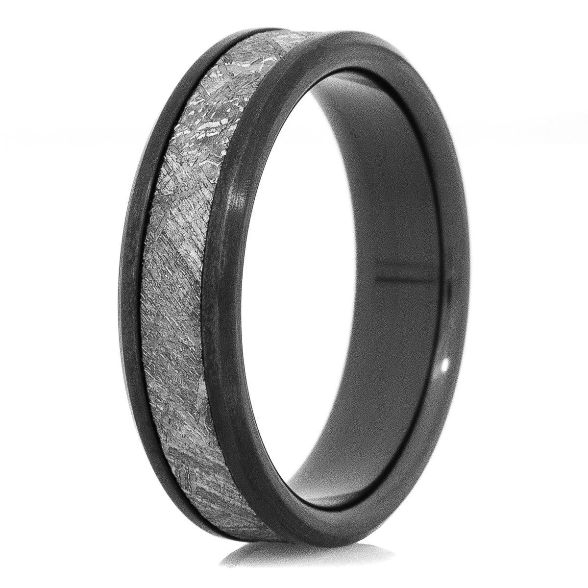 Men's Beveled Edge Black Zirconium Gibeon Meteorite Ring