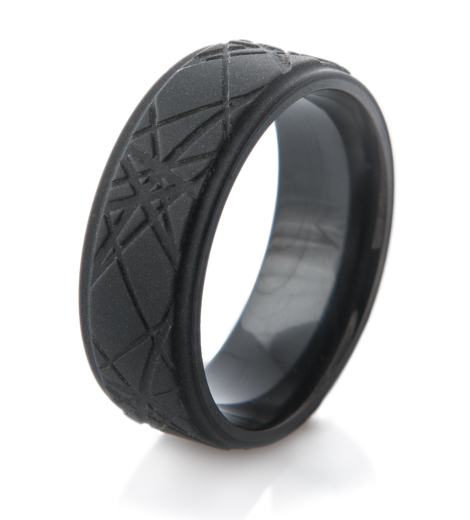 Retro Laser Style Men's Black Ring