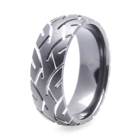 Men's Black Tire Tread Ring