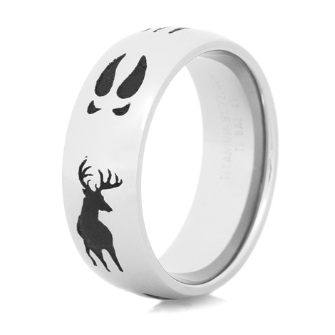 Men's Titanium Tracks and Deer Ring