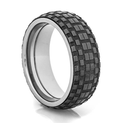 Men's Black Tread Spinner Ring