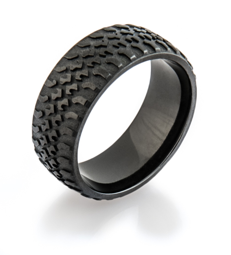 Men's Black Truck Tire Tread Ring