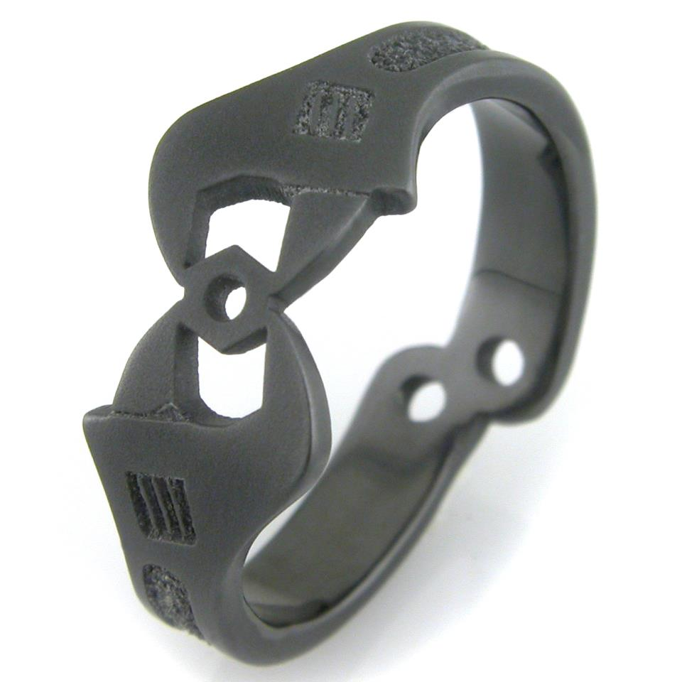 Men's Black Wrench Wedding Ring
