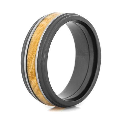 Men's Polished Black Zirconium Box Elder Ring with Silver Accents