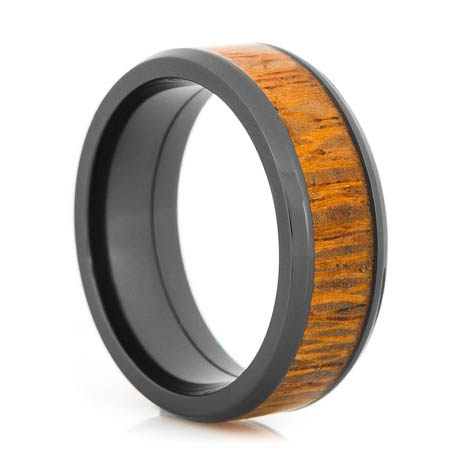 Men's Beveled Edge Polished Black Zirconium Leopard Wood Inlay Ring