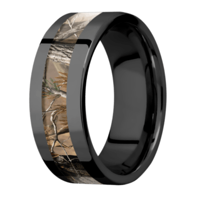 Men's Black Zirconium Flat Profile Camo Ring