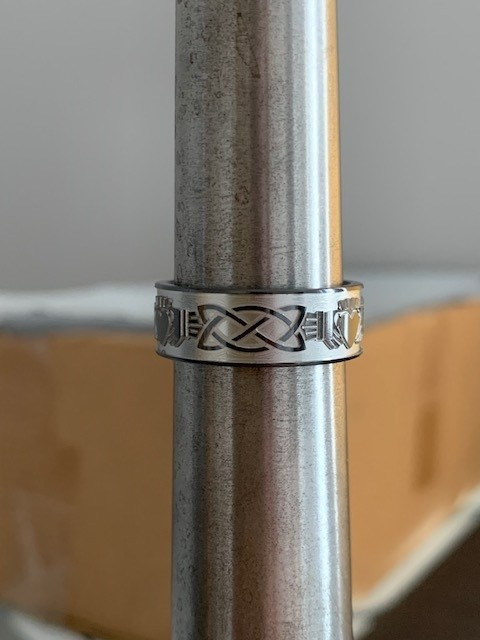 Men's Black Zirconium Claddagh Celtic Ring
