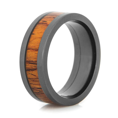Men's Flat Profile Polished Black Zirconium Cocobolo Ring