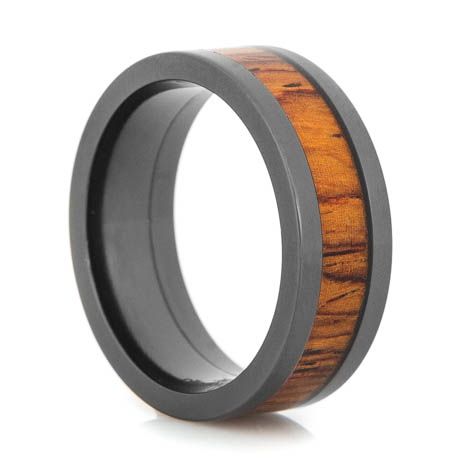 Men's Flat Profile Polished Black Zirconium Cocobolo Ring