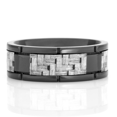 Men's Black Zirconium Segmented Texalium Ring