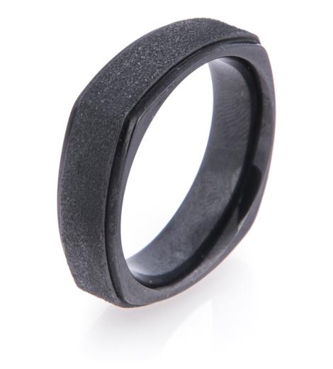 Men's Square Black Zirconium Ring with Stipple Finish