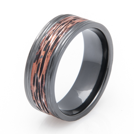 Black Zirconium Copper Ring with Tree Bark Finish