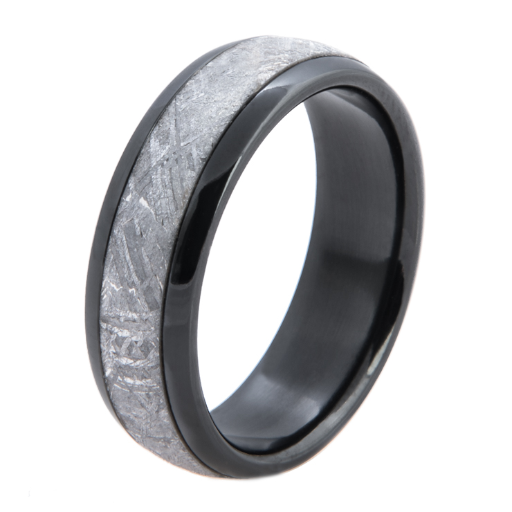 Men's Polished Black Zirconium Gibeon Meteorite Ring