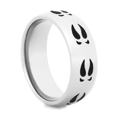 Titanium Black Deer Tracks Ring