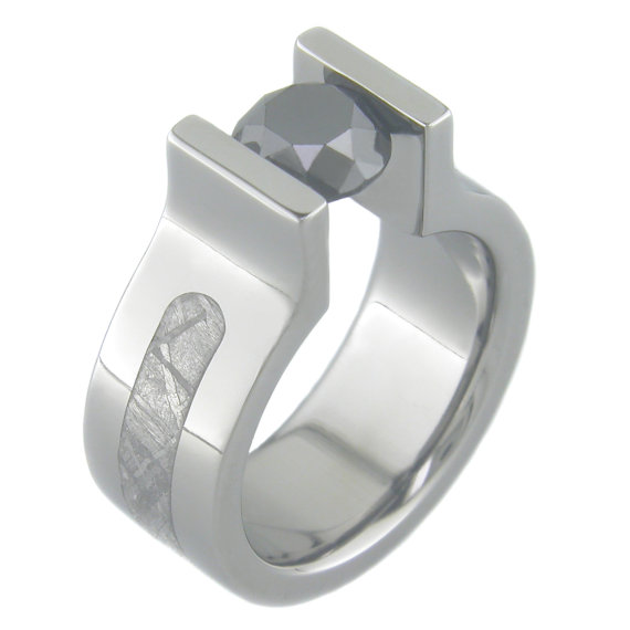 Men's Titanium Tension Set Black Diamond Gibeon Meteorite Ring