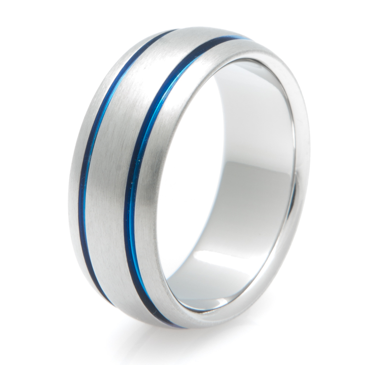 Blue Titanium Wedding Ring