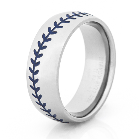 Men's Titanium Baseball Wedding Ring with Blue Stitching