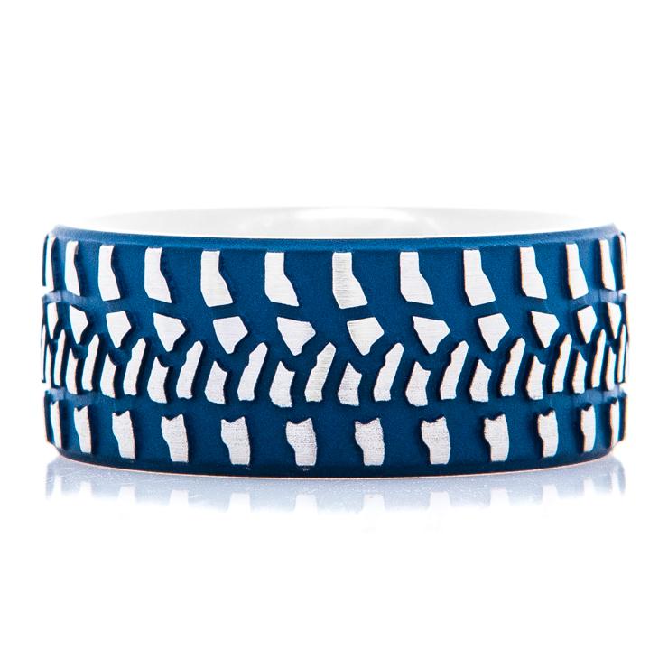 Men's Titanium Blue Goodyear Wrangler Tire Tread Ring