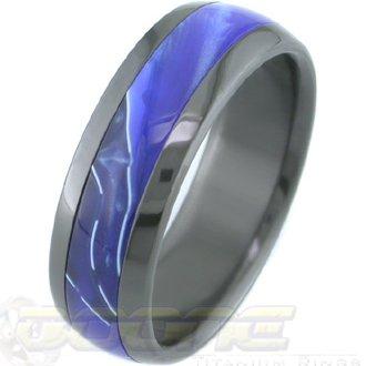 Black Zirconium Ring with Hawaii Blue Inlay