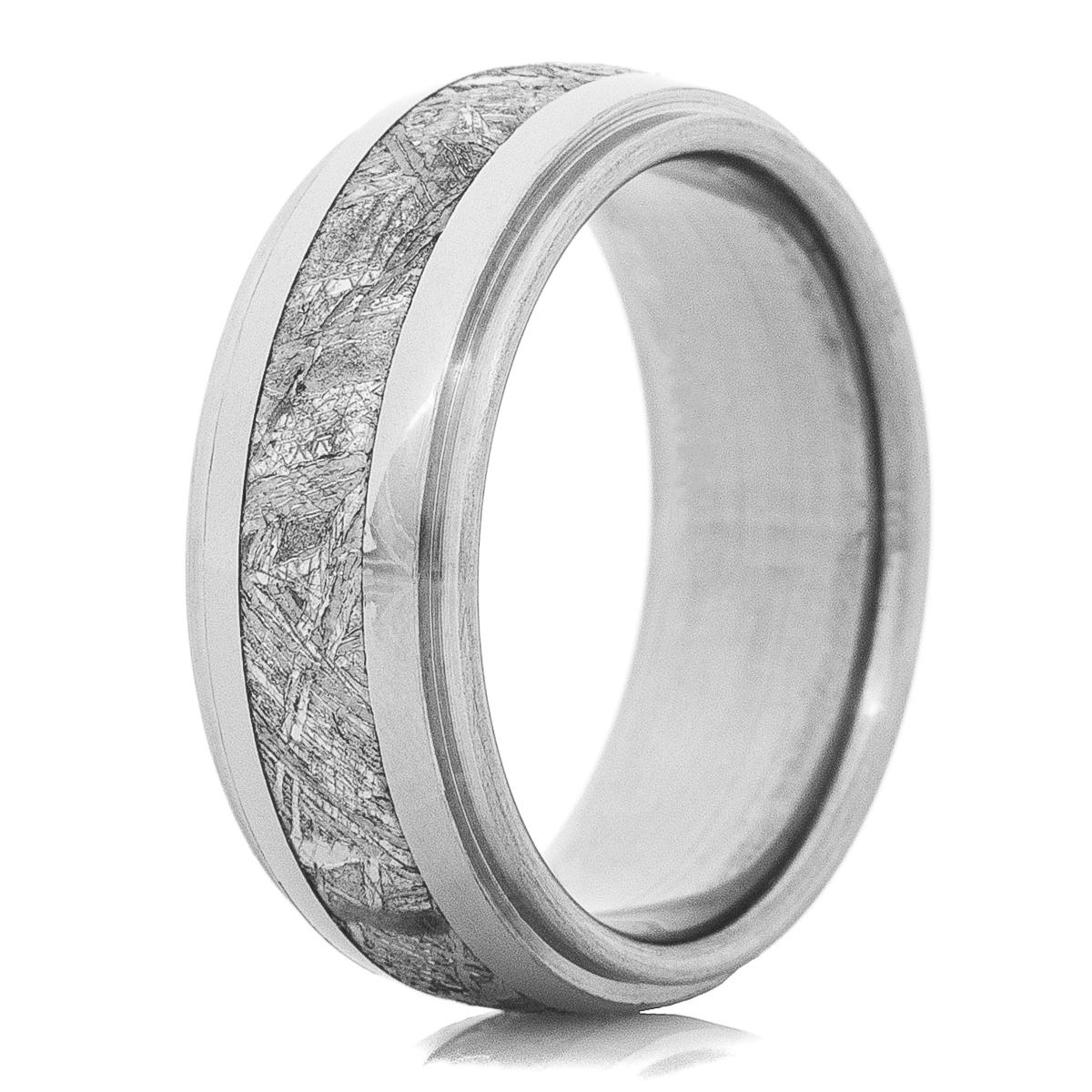 Men's Dome Profile Grooved Edge Titanium Gibeon Meteorite Ring