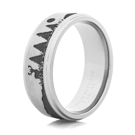 Men's Titanium Carved Bow Hunter Ring