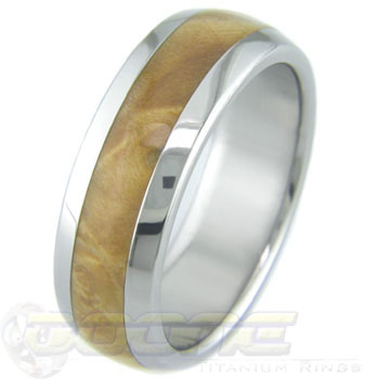 Men's Dome Profile Titanium and Box Elder Burl Ring