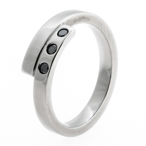 Women's Titanium Bypass Black Diamond Ring