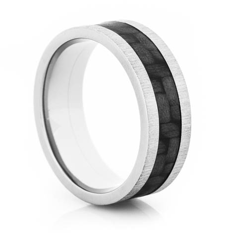 Carbon Fiber Ring w/Cross Satin Finish