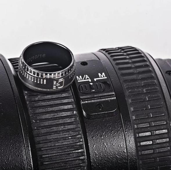 Men's Black Zirconium Camera Lens Ring