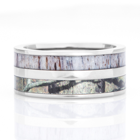 Men's Titanium Camo & Deer Antler Inlay Ring