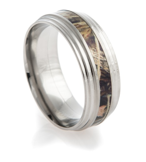 Men's Titanium Triple Step Camo Ring