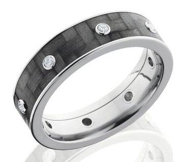 Men's Titanium and Carbon Fiber Diamond Ring