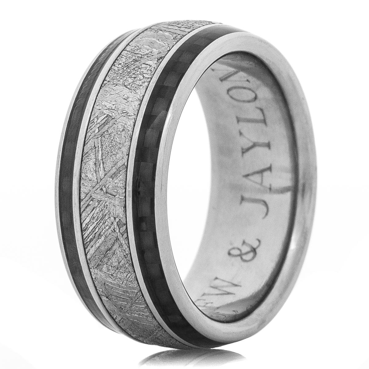 Men's Accented Titanium Meteorite Ring with Twin Carbon Fiber Inlays