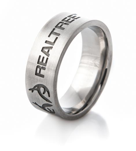 Titanium Carved Antler Emblem Realtree® Ring