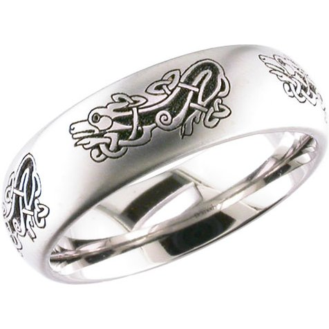 Laser Engraved Celtic Dragon Ring