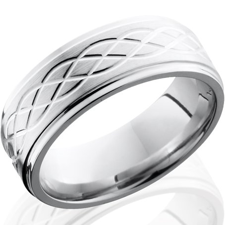 Men's Grooved Edge Simple Celtic Weave Cobalt Chrome Ring