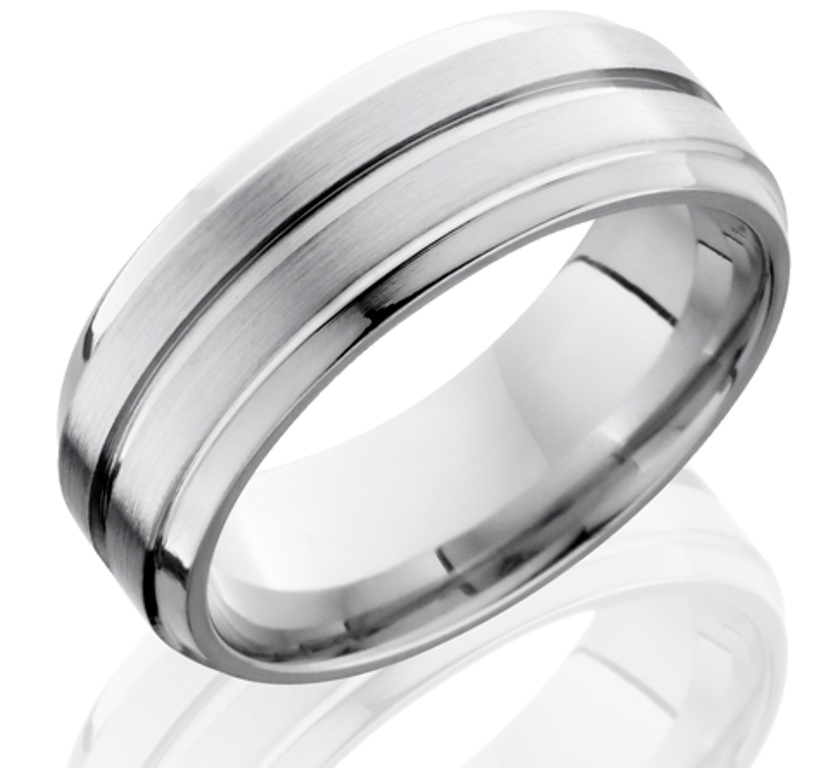 Men's Grooved Edge Cobalt Ring with Center Groove