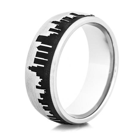 Men's Cobalt Chrome Chicago Skyline Ring