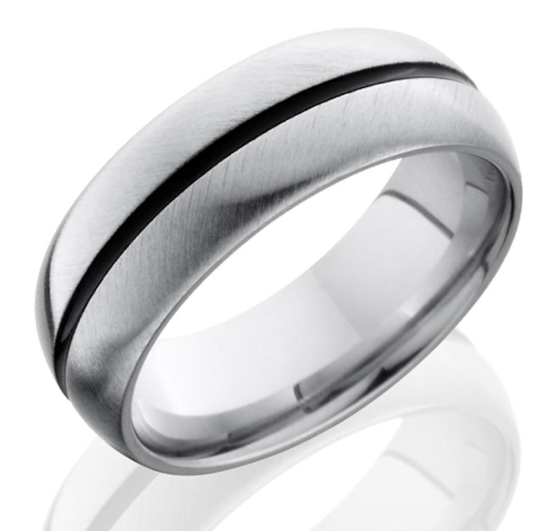 Men's Cobalt Chrome Ring with Black Center Groove