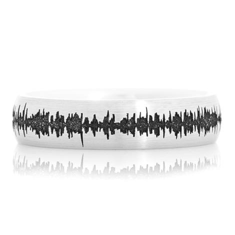 Men's Cobalt Carved Sound Wave Ring