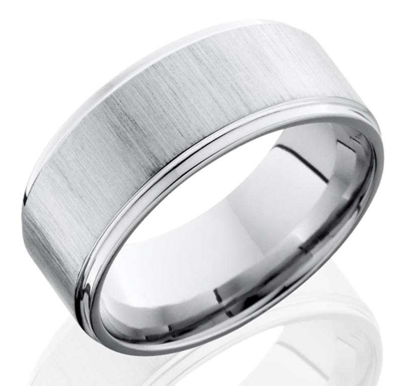 Men's Grooved Edge Crosscut Finish Cobalt Chrome Ring