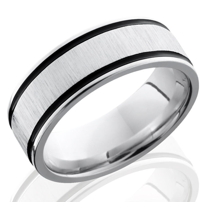 Men's Cobalt Wedding Band with Dual Black Grooves