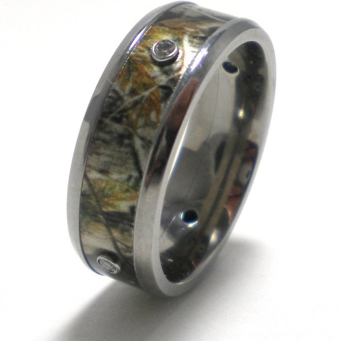 Women's Titanium Camouflage Four Diamond Band