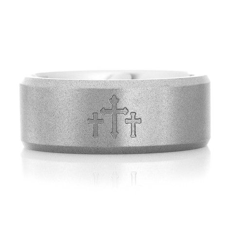 Men's Beveled Edge Titanium Country Chapel Wedding Ring