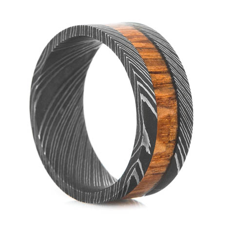 Men's Acid Finish Damascus Steel Ring with Leopardwood Inlay