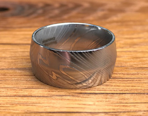 Men's Wide Damascus Steel Ring with Peaked Center
