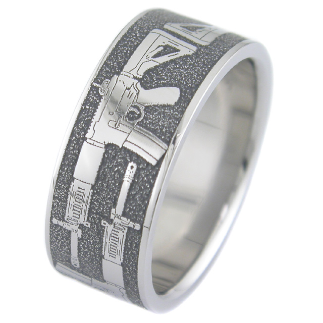 Men's Titanium Assault Rifle Gun Ring